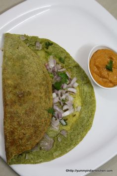 Pesarattu dosa is in the form of a pancake which is made by using moong dal and rice