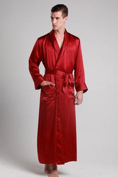 Red color 100-percent high quality personalized silk robes are on sale from online shop, which is turndown collar. $99 #robes #silk #lilysilk