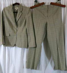 Talbots 6 Plaid Beige Pant Suit Cotton Linen Wear to Work #Talbots #PantSuit