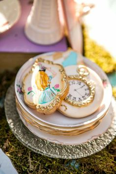 Cookies + Plates from a Shabby Chic Alice In Wonderland Birthday Party via Kara's Party Ideas KarasPartyIdeas.com (38)