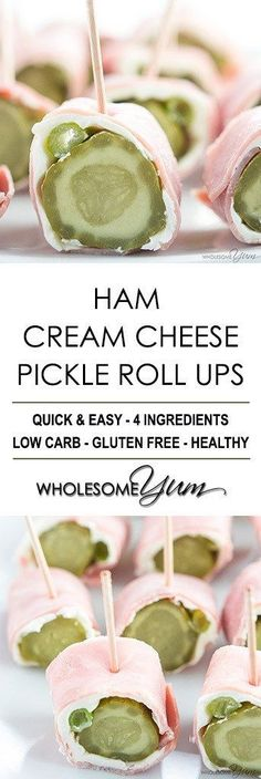 Ham Roll Ups Recipe – Ham Cream Cheese Pickle Roll Ups (The Easy Gluten-Free Cookbook) - Dill pickle ham roll ups are quick & easy. If you want a simple, low carb, gluten-free snack or appetizer, make these ham cream cheese pickle roll ups!