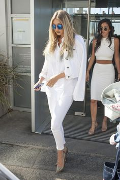Gigi Hadid wearing Guess Cropped Denim Jacket in Optic White, Marciano the Skinny No. 61 Beaded Jeans in Optic White, Guess Bittan2 Pumps in Gold Snake and Guess Kara Round Plastic Sunglasses in Blue Mirror