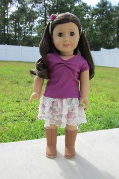 American Girl Doll Ruffled Rose Outfit by TailsandTentacles, $26.00