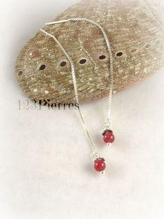 Boucles d'oreilles jade rouge pierre fine sur chaine par 123Pierres