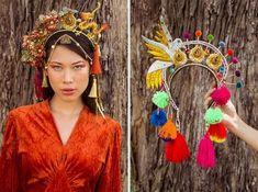 Tiaras da Can-Can - de dragão (R$ 369) e o arco Nação Arco-Íris (R$ 869). Clica pra ver mais!