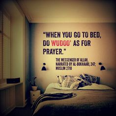 Take #wudu before sleeping