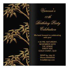 Elegant Birthday Party Gold Black Asian Bamboo Custom Invitation by Zizzago.com