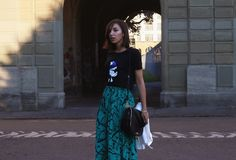 Karl Lagerfeld Capsule Collection bag and tee-Shirt, upcycled DIY skirt from a vintage dress. Outfit by Virginie Peny