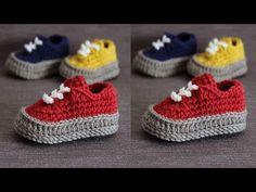 Modernos zapatitos tejidos a crochet para bebe en ganchillo - YouTube