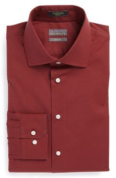 Calibrate Trim Fit Dress Shirt at Nordstrom.com. Finely textured stretch-cotton forms a handsome dress shirt fitted with a wide spread collar and mitered, adjustable-button cuffs. Pantone Color of the Year 2015 Marsala