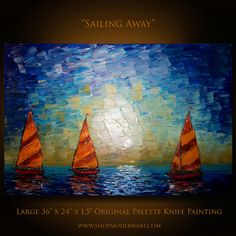 """Original Palette Knife Sail Boat Abstract Painting on Canvas Impasto Textured Large 36"""" x 24"""" Gallery Wrapped Ready to Hang Free Shipping"""