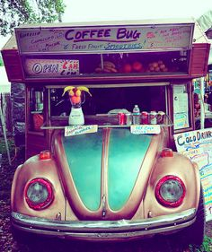 This cute little coffee shop is Brad Frank's Coffee Bug. It's built around a 1969 Volkswagen Beetle. Frank tows it around fairs and festivals. Advertise at fairs and festivals with my coffee shop's bug. Mini Camper, Food Trucks, Cadillac Eldorado, Mobile Coffee Shop, Antique Fairs, Hippie Man, Vw Beetles, Summertime, Surfing