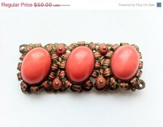 CLeARaNcE SaLE: Amazing Antique Coral Czech Glass brooch with Enamel. Rare. on Etsy, $45.00