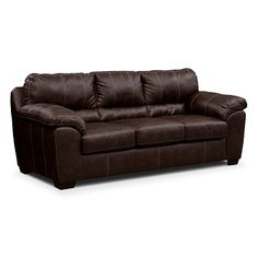 Henson Brown Leather Queen Sleeper Sofa | Furniture.com $552.49