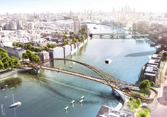 Rival designs unveiled for a new pedestrian and cycle bridge in London that would stretch over the Thames between Nine Elms and Pimlico Bridges Architecture, Architecture Visualization, Landscape Architecture, Lanscape Design, Nova, Bridge Design, New London, Pedestrian Bridge, Over The River