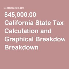 $45,000.00 California State Tax Calculation and Graphical Breakdown