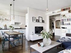 Open Concept: 10 ideas to have a kitchen open to the living-dining room . # open # living room # have Open Kitchen And Living Room, Open Space Living, Small Living Rooms, Home And Living, Living Spaces, Small Apartment Interior, Small Apartment Kitchen, Apartment Living, Small Open Kitchens