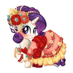 Finally, an outfit for the pony everypony should know is done! Rarity wearing a fancy rococo dress. I think it would go well with her chaise longue when she feels dramatic enough I was kinda out of...