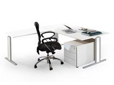 C-Fuß Arbeitstisch mit Anbautisch und Rollcontainer Form 4