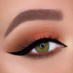 Pin de isabela albuquerque em make eye make up, orange eye m Eye Makeup Steps, Natural Eye Makeup, Smokey Eye Makeup, Natural Eyeshadow, Dark Eyeshadow, Winged Eyeliner, Eyeshadow Looks, Eyeshadow Makeup, Hair Makeup