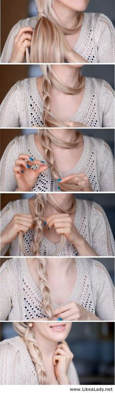 Crisscross Ponytail Tutorial again, not sure if it works on curly hair, but really cute