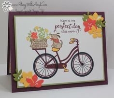 I used the new Bike Ride stamp set from the Stampin' Up! 2017-18 Annual Catalog to create my card to share today.  My card design was inspired by Sketch Saturday #463.  I started by stamping the image