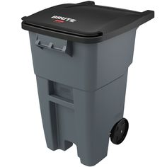 """This Rubbermaid FG9W2700 GRAY Brute 50 gallon gray rollout trash container is the ideal waste receptacle for your restaurant, deli, or commercial business! Thanks to the heavy-duty 8"""" wheels, this trash can affords easy mobility over steps and curbs, and the molded-in catch bar is compatible with virtually any automated lift system. This container also features an attached hinged lid and locking mechanism, so you can have confidence that your unit is secure. This trash container is made ..."""