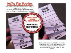 WOW Words Writing Workshop Mini Lessons for First Grade and Kindergarten. Includes: flip books, graphic organizer, posters and word sorts! $