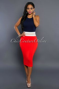 Chic Couture Online - Lulu Navy-Blue Orange Color-Block Dress, (http://www.chiccoutureonline.com/lulu-navy-blue-orange-color-block-dress/)