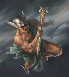Greek Mythology Gods, Greek Gods And Goddesses, Roman Mythology, Mercury Mythology, Aluminum Foil Art, Fantasy Art Men, Occult Art, Archetypes, Mythical Creatures