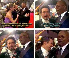 """He's not my buddy. He's my boss!"" Robert Downey, Jr. and Samuel L. Jackson"