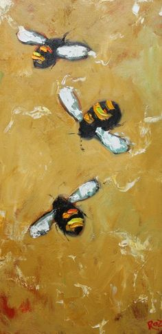 Bee 159 12x24 inch original oil painting by Roz by RozArt on Etsy