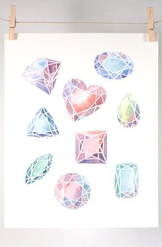 Gemstones Art Print of Watercolor Illustration by Four Wet Feet