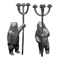 Pair of Silver Bear Candelabra | From a unique collection of vintage candleholders and candelabra at http://www.1stdibs.com/jewelry/silver-flatware-silverplate/candleholders-candelabra/