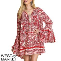 Paisley Bell Sleeve Dress Beautiful red and cream dress with bell sleeves and a paisley print. The v-neck is accented but a playful fringe tie. Worn as a dress or a tunic, it's sure to make a statement! West Market SF Dresses Mini
