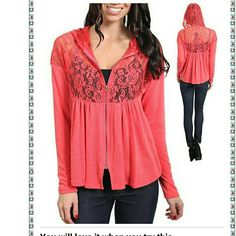 "Lace zip up hooded cardigan sweater jacket hoodie Lighyweight New Coral  zipper closure. fabric is stretchy  and upper half part is made of sheer mesh Lace as show in photos. Luxuriosly soft strethcy Knitted and lace fabric.  NOTE* the color in photos may vary brighter /lighter than the atctual item. total length:23""  *PRICE IS FIRM UNLESS BUNDLED Boutique  Tops Sweatshirts & Hoodies"