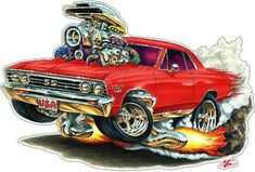1967 Chevelle FB WALL DECAL Vintage Classic Cartoon Car Vinyl Sticker Graphic Man Cave Boys Room Dec 1967 Chevelle, Chevrolet Chevelle, Chevy, Caricatures, Cartoons Magazine, Cool Car Drawings, Garage Art, Weird Cars, Automotive Art