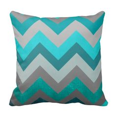 Trendy Girly Gray Teal Chevron Zigzag Pattern Throw Pillows at Zazzle