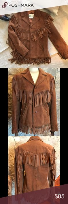 "Super Cool Vintage Fringed Leather  Jacket In great vintage condition with normal signs of wear  Non smoking home  Fringed Front , back and arms  Men's size 38 but love the fit on me and I'm a women's small/Medium  Sleeve from shoulder Seam 25""  Armpit to armpit lying flat 20"" Natural waist lying flat 19 1/2"" Length from back neck with fringe 30 1/2"" Great jacket Bermans Jackets & Coats"