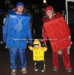 Lego Costumes; this would be super cool to have the parents dressed as blue and yellow and then child green. Or other colors that make whatever color the child is.