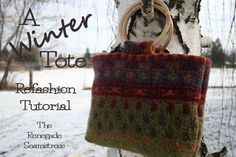 Love this easy tutorial for refashioning an old (thrifted?) sweater into a tote.  From The Renegade Seamstress.