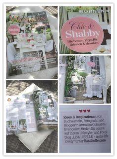 """Meine Tipps für romantisch Wohnen in """"Chic & Shabby"""" in der Sommerausgabe 2016 der Zeitschrift TRAUMWohnen. make life lovely, eure AnnaLISA"""