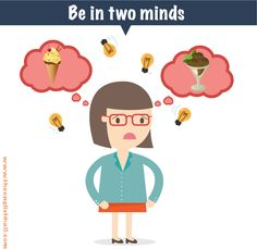 IDIOM: Be in two minds. Learn more about the word 'mind' at: http://www.theenglishhall.com/vocabulario/palabras-en-ingles-con-dos-significados