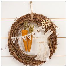 Grapevine Easter wreath with dyed twine carrots no a burlap bunny