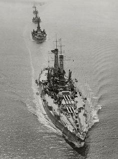 April 13, 1919: USS New Mexico leading USS Oklahoma, USS Nevada and other ships of the Atlantic Fleet off the U.S. east coast.