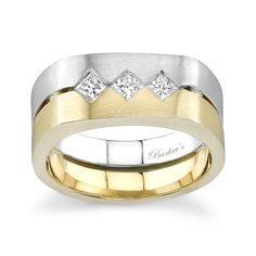 Two Tone Mens Wedding Band - 6912GW - This unique mens two tone diamond wedding ring sports a white gold band and one yellow gold band, burnish set with princess cut  diamonds, set on point, across the top.  Available with a light satin finish, or a bright high polish finish for distinctively different looks.  Also available in all white or yellow gold, 18k and Platinum.