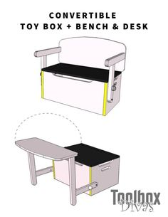 3 in 1 convertible Kids Bench + Toy box storage that converts into a desk. Organize the clutter in the kids room with multi-functional furniture for kids furniture farmhouse Desk and Bench Set w/Toy Box Storage - ToolBox Divas Diy Furniture Projects, Furniture Plans, Rustic Furniture, Home Furniture, Furniture Design, Cheap Furniture, Furniture Removal, Wood Projects, Furniture Stores