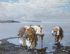 Stepan Kolesnikoff (1879 — 1955) The Washerwomen. c. 1935 tempera on paperboard. 30 x 39.5 cm. (11 3/4 x 15 1/2 in.)