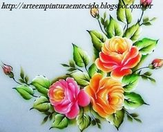 Pintura em tecido Rosas Passo a Passo - Pintura em Tecido Passo a Passo Com Fotos