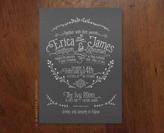 I love this shade of gray with the white text, I also like the nature accents.  Graphite Vine Wedding Invitation  Printable by askandemblaco, $65.00